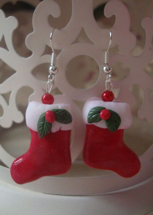 Christmas Craetions Reader's Gallery - Christmas stocking earrings - a winning design by A Spoonful of Fimo