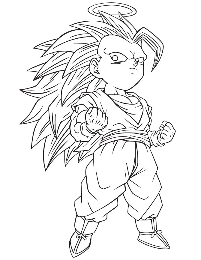 Dragon Ball Z Son Goku Super Saiyan Three Postures Children Coloring Pages For Kids Printable