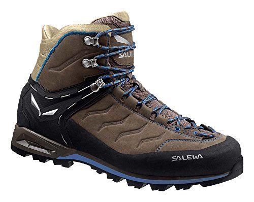 Salewa Mens Mountain Trainer Mid Leather Boots Walnut Royal Blue 12 Etip  Lite Gripper Glove Bundle