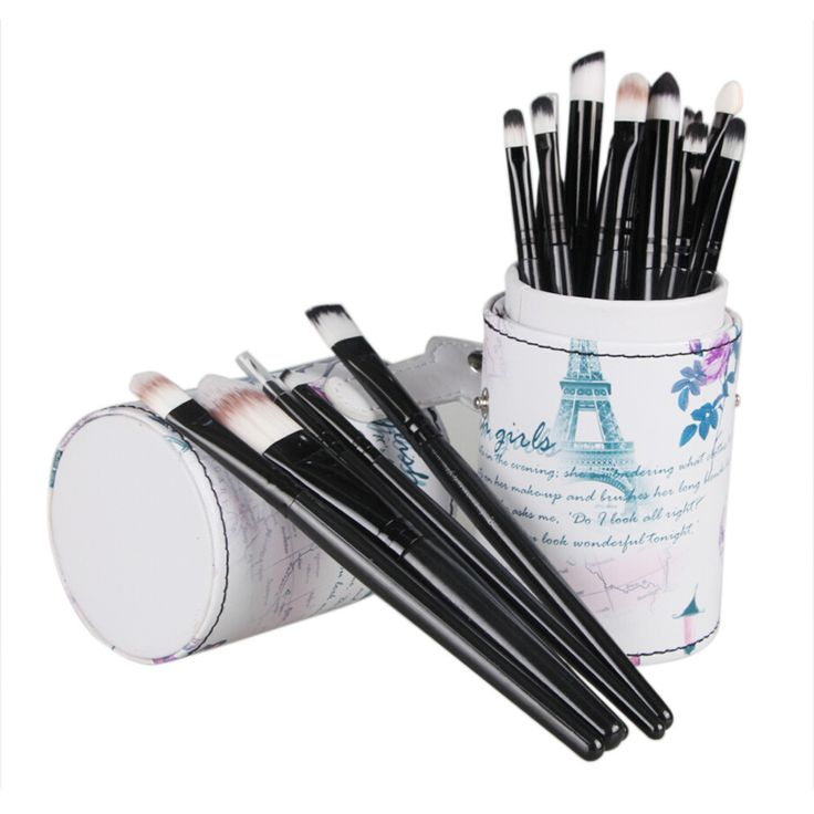 20pcs set pro makeup brushes + Leather Cup Holder Case for Brush Powder Foundation Blending Concealer  Cosmetic Tools