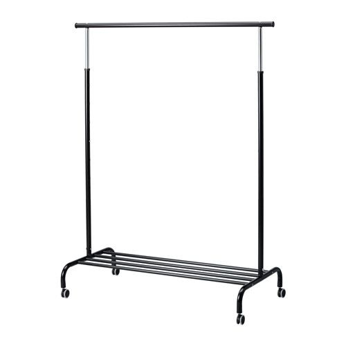 RIGGA Clothes rack IKEA You can easily adjust the height to suit your needs as the clothes rack can be locked in place at 6 fixed levels.
