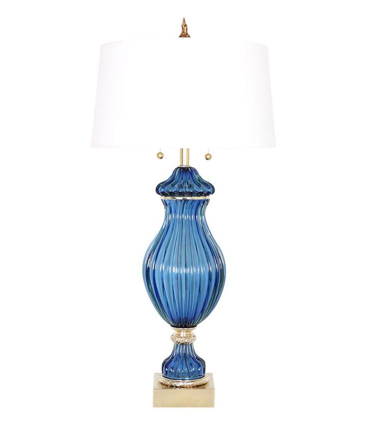 Seguso For Marbro Murano Blue Glass Lamp 1950s