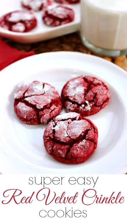 Easy Red Velvet Crinkle Cookies Recipe - perfect for holidays and special occasions! #cookies #recipe