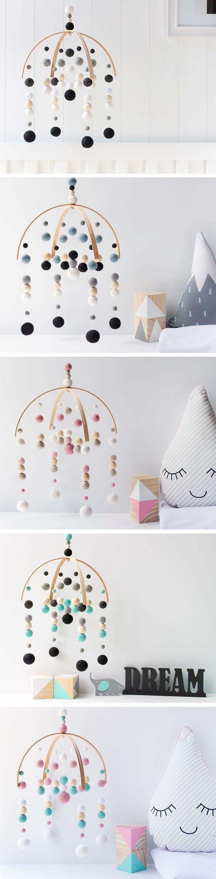 Baby Crib Mobile. Nursery Cot Mobile. Kids Room Decor. Nursery Felt Ball Mobile. Nursery Decor. Gender Neutral. Monochrome Black Baby Mobile