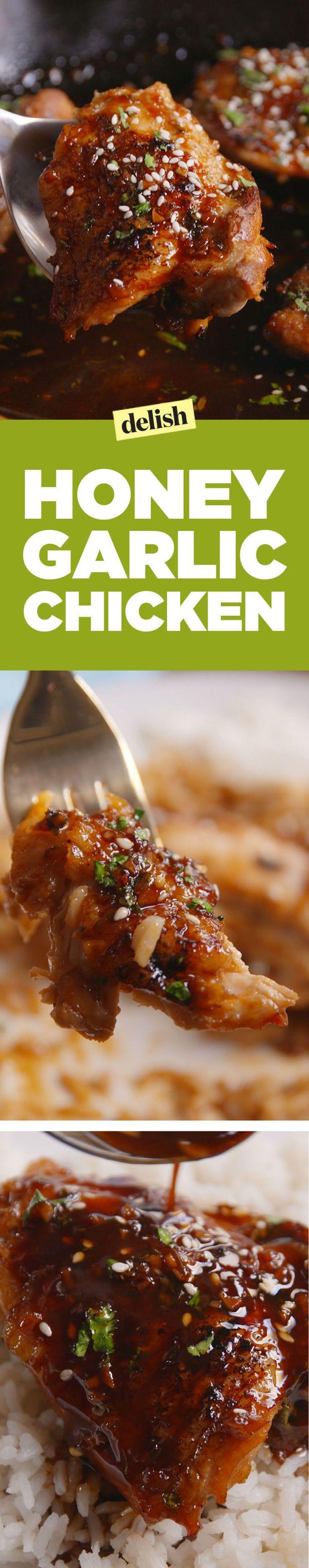 Honey Garlic Chicken  - Delish.com                                                                                                                                                                                 More