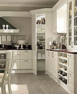 CORNER PANTRY; The layout is the same in our kitchen. Except we have a dishwasher where that wine rack is and minus the corner pantry. This gives me a visual to be able to fit a pantry in my small kitchen.