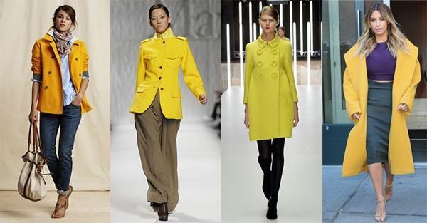 Желтое пальто сочетание
