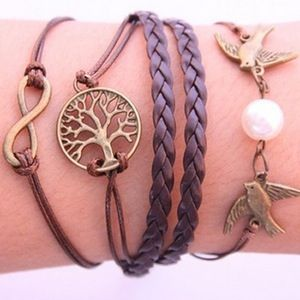 Gold Tree, Infinity, Swallows Bracelet