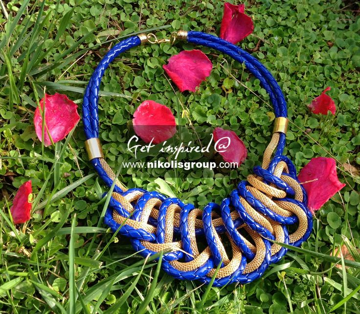 impressive necklace in gold and blue made with snake chain and braided cord! find all the materials @ www.nikolisgroup.com