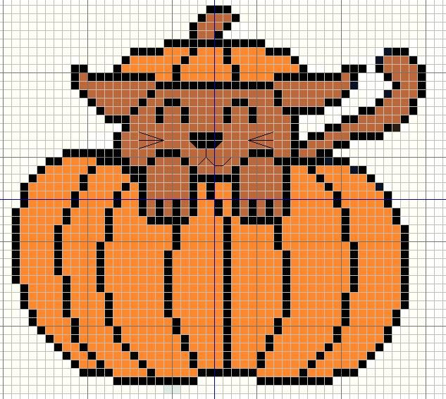 Buzy Bobbins: Cat in a pumpkin - Halloween cross stitch design