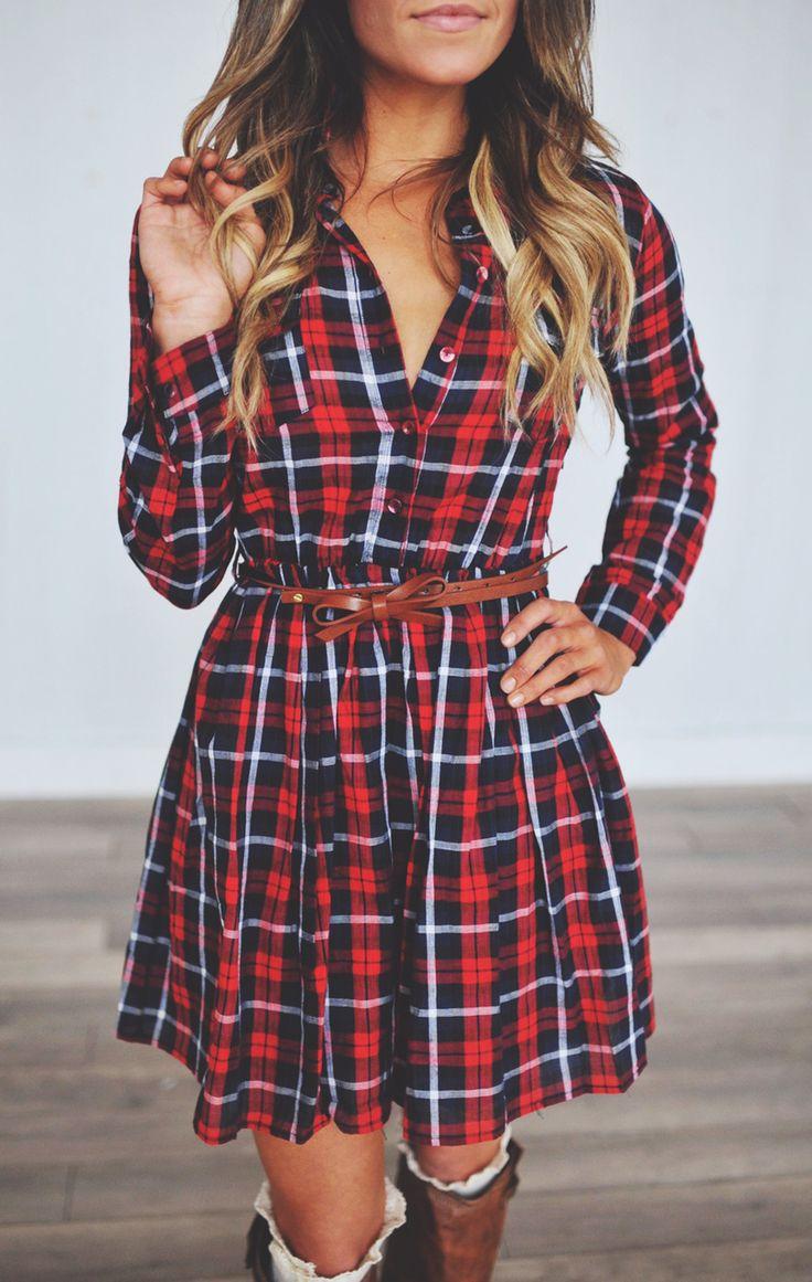 Red Plaid Bow Belt Dress - Dottie Couture Boutique