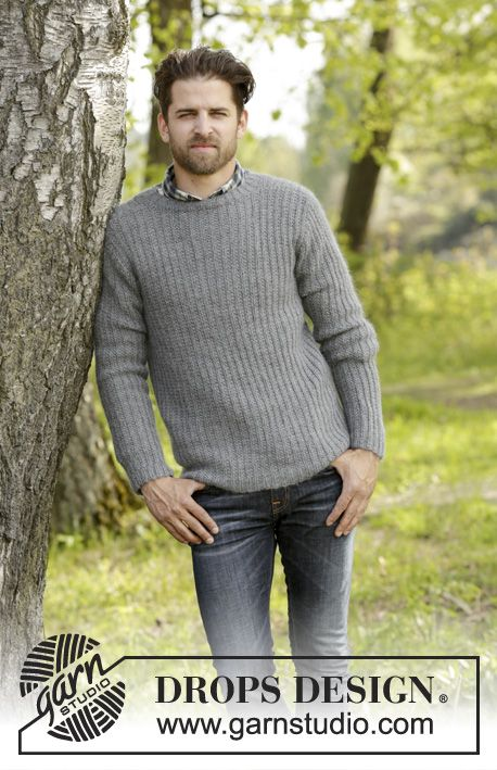 Beaver Ridge mens jumper with textured pattern by DROPS Design Free #knitting pattern