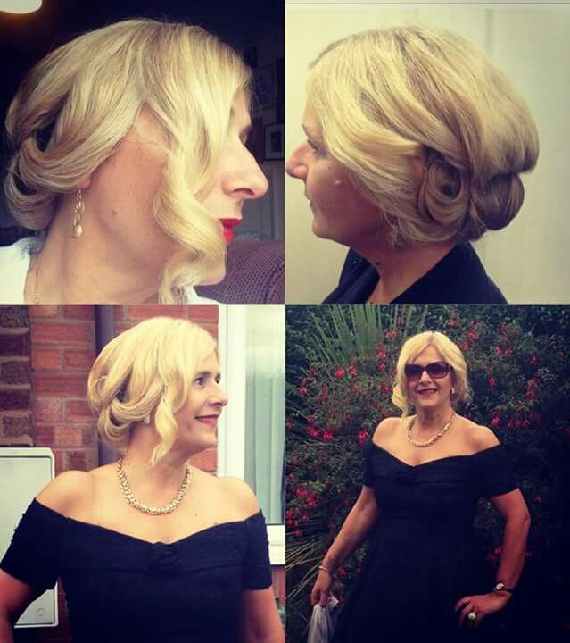 This style as created for Tracey who was off to an Oscar themed party. The vintage hairstyle and dress. Complimented each other perfectly