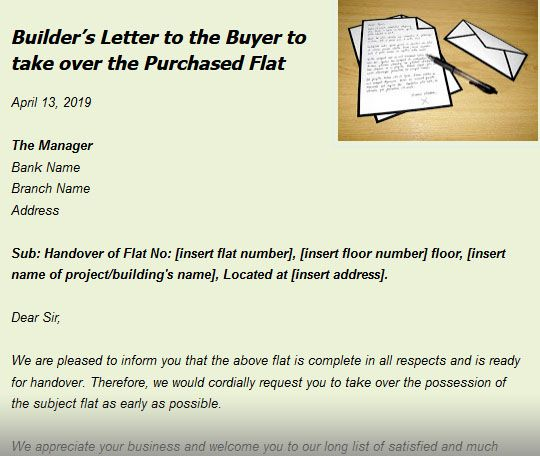 Builder's Letter to the Buyer to take over the Purchased