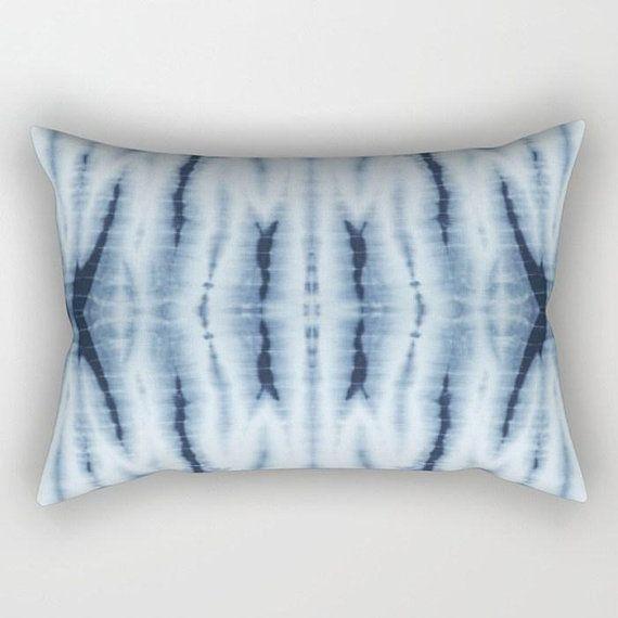 Blue Pillow Boho Home Decor Shibori Throw Indigo Accent Tie Dye