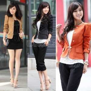 Women's Fashion Basic Slim Puff Sleeve Bow Short Coat Jacket