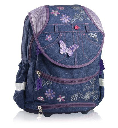 "Totem Ergonomic Design Orthopaedic School Bag ""Deluxe"" Butterfly (Denim)"