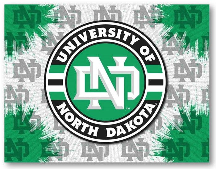 North Dakota Fighting Hawks D1 Printed Logo Canvas.  Visit SportsFansPlus.com for Details.