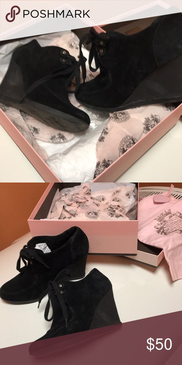 Juicy couture wedge booties Worn wedge booties.  Size 7.5.  Box and dust bag too. Black waxy suede Juicy Couture Shoes Ankle Boots & Booties