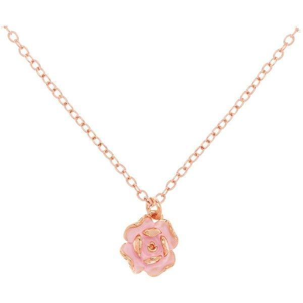 Ted Baker Elliana Enamel Rose Pendant Necklace , Rose Gold/Pink ($38) ❤ liked on Polyvore featuring jewelry, necklaces, rose gold pendant, rose pendant necklace, pink gold pendant, rose gold necklace and rose pendant