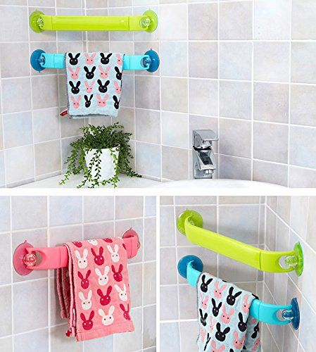 Retractable Towel Bar With Rotatable Suction Cup Green