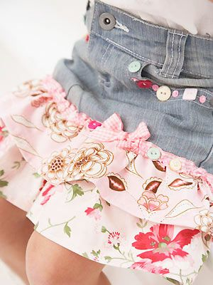 Turn old jeans into cute skirts for girls