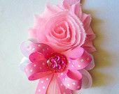 Rosa bebé diadema - hechos a mano accesorios Shabby Chic diadema-chicas-las muchachas del bebé diadema elástica venda-tramo diadema hecha por encargo!!!!!!