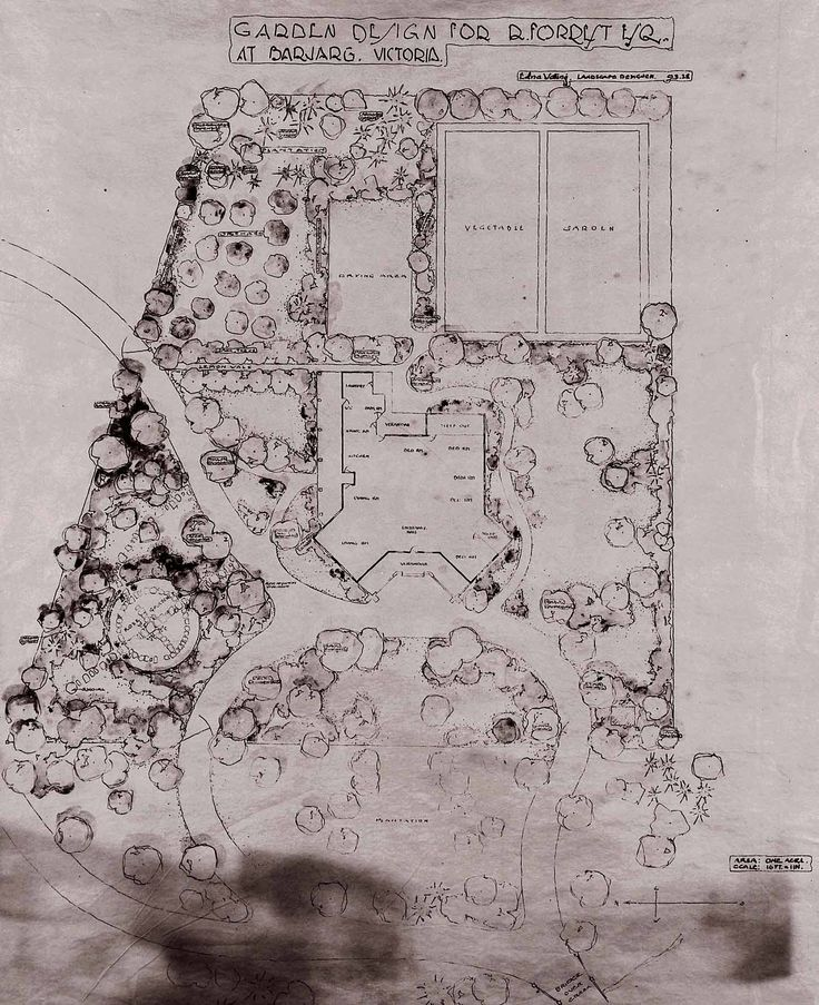 Edna walling Garden Design for Mr. D. Forrest Esq., Barjang