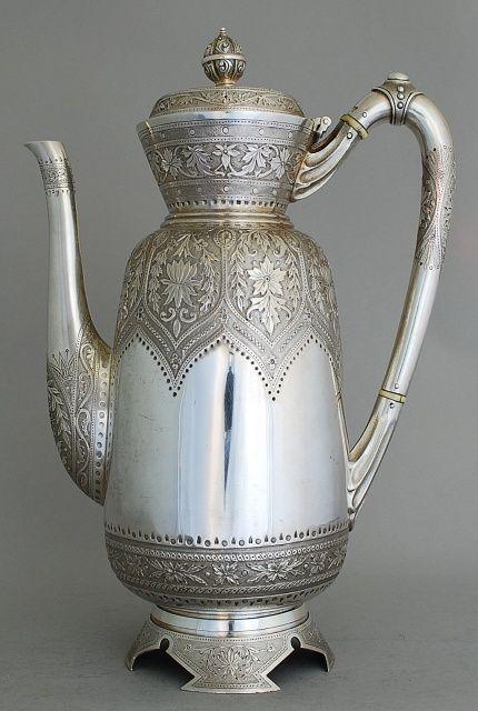 Beautiful silver teapot.