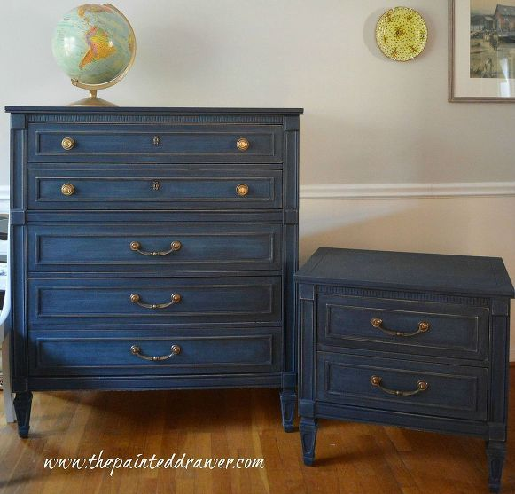 Interesting lively navy blue (!) milk paint distressed furniture. Brightened brass w/lemon juice & baking soda scrub. Looks nice!