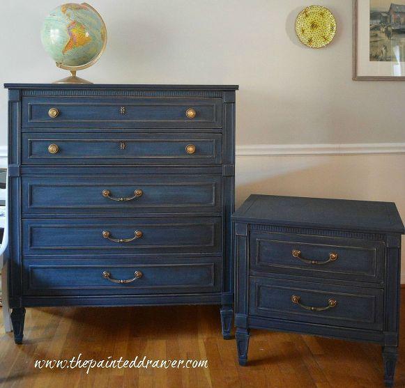A Set In Coastal Blue Vicki K S Board Painted Drawers