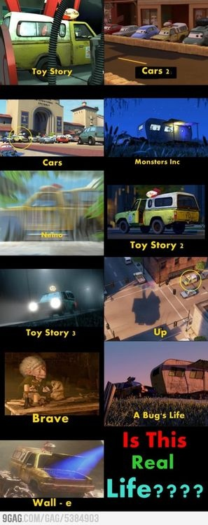 Pixar pizza planet car.........DID U NOTICE THE TRAILER picture FROM BUGS LIFE AND MOSTERS INC are THE EXACT SAME.....crazy