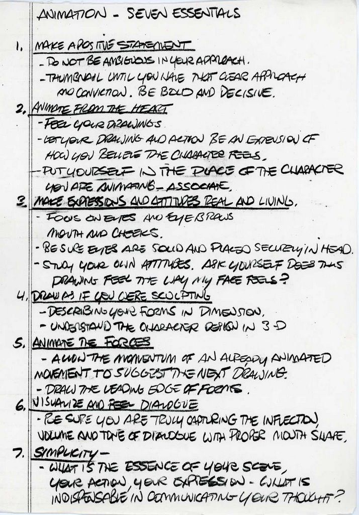 More Glen Keane Notes