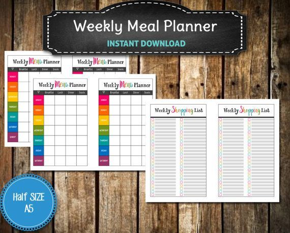 Rock your Happy Planner with this Bold and Bright A5 Weekly Menu Planner & Grocery List Printable / Shopping List / Menu Planner  /  Happy Planner Insert -  INSTANT  DOWNLOAD #HappyPlanner #Mambi USE Coupon MAGA15 for 15% off through July 31, 2017