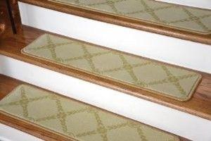 "Dean Premium Carpet Stair Treads - Duchess Ivory/Gold 35"" x 9"" (Set of 13) modern-stair-tread-rugs"