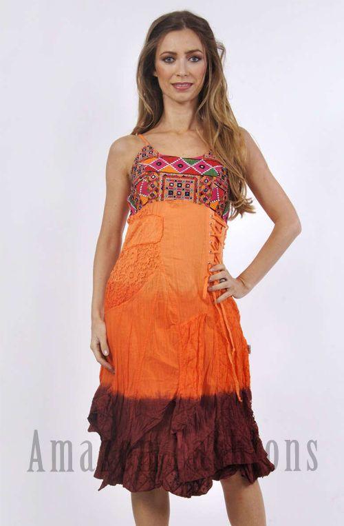 Savage Culture Orange Dip-dye Cotton Dress