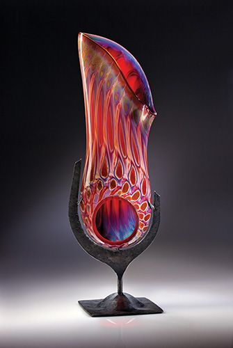 Gorgeous aurora sculpture, and one-of-a-kind color made only by glass master Elodie Holmes. Check out the glass studios on Bacca St. Santa Fe.
