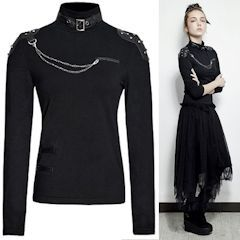 Women Black Studded Long Sleeve Turtleneck Punk Rock Fashion Tops SKU-11409348