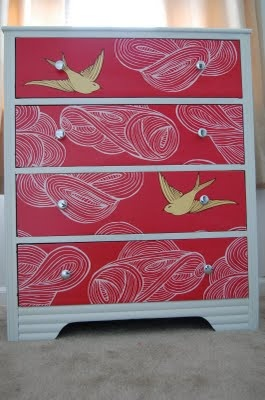 dresser with wallpaper and mod podge