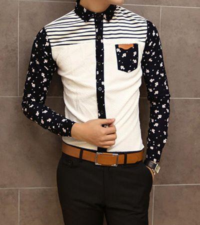 Slimming Shirt Collar Trendy Fish Print Stripe Splicing Long Sleeve Men's Cotton…