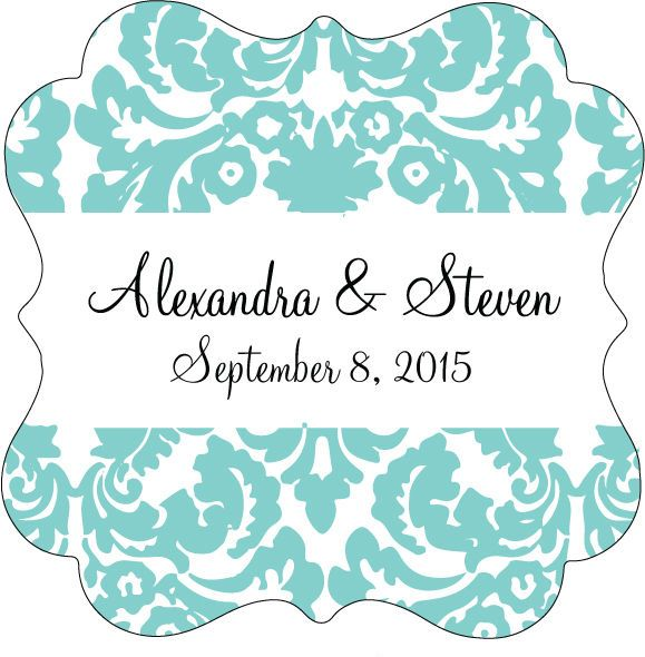 20 Damask Personalized Wedding Favor Tag Bridal Shower Tag