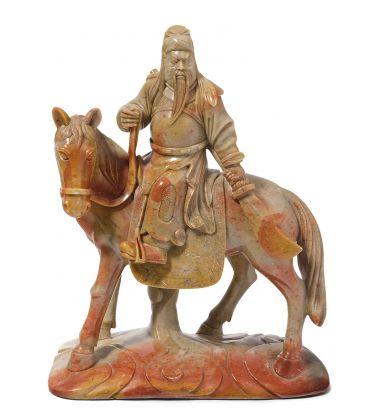 Figurengruppe: Guan Yu zu Pferd#porzellan #skulpturen #keramik #bronze