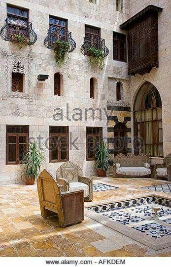 the-courtyard-of-the-martini-orient-house-hotel-in-al-jdeida Aleppo - Syria  المصدر: موقع alamy