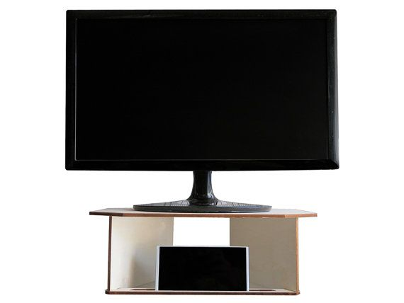 "This is one of my Etsy shop item...and if you like it, you can buy it! Exy is a laser cut poplar plywood tv or monitor stand.   It can accommodate smartphone, tablet or phablet up to 7 "" to get a multimedia station and to use its own device as... #lapdesk #geek #phonestand #desk #geekery"