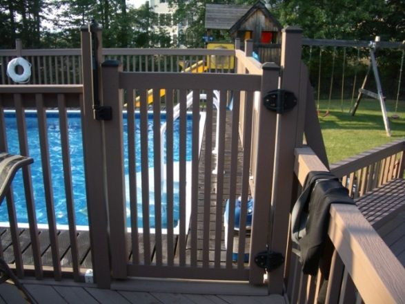 Pool Deck Gate Ideas this is a great set up separate area for grilling and a patio table near the house with steps to the yard and a gate to the pool also gray deck Find This Pin And More On Deck Ideas Above Ground Pool With Gates