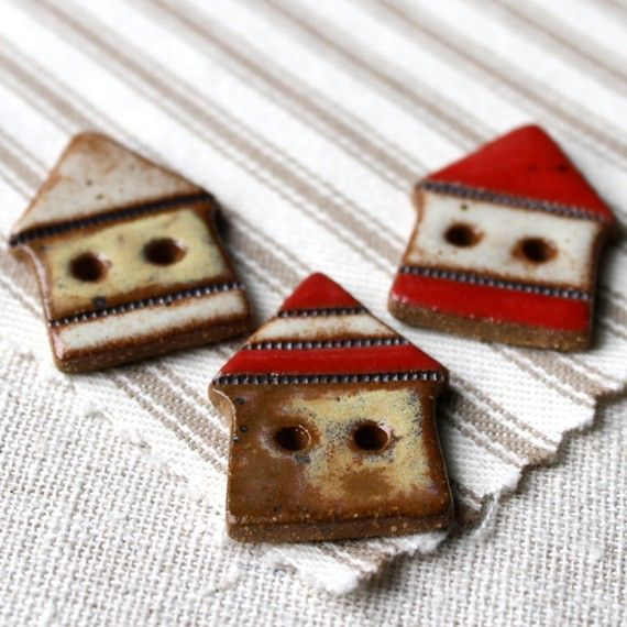 I want these little ceramic cottage buttons!