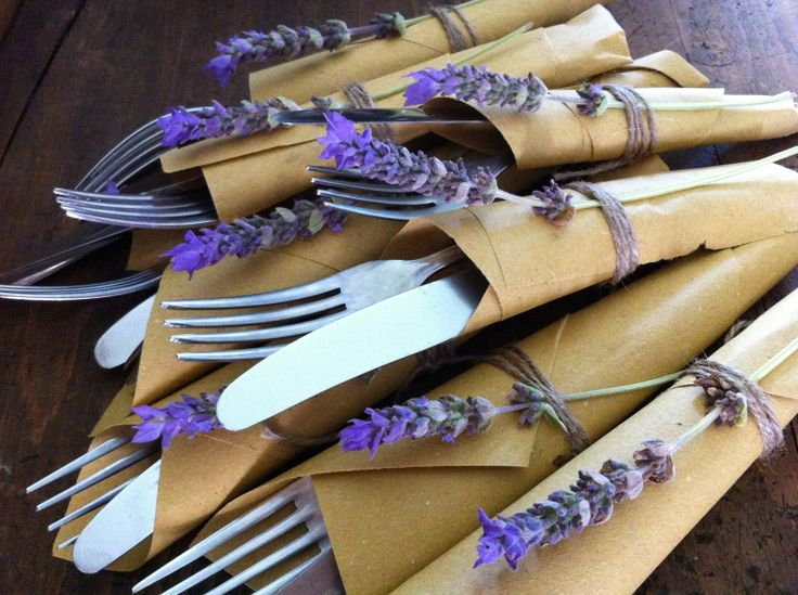Silverware Wrapped in Lavender and Paper - A Taste Of Beauty - Your Italian Wedding Planner - www.atasteofbeauty.co.uk