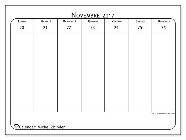 Calendario per stampare novembre 2017 - Septimanis 4