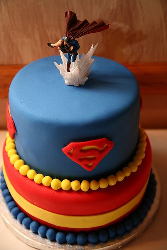 Superman grooms wedding cake