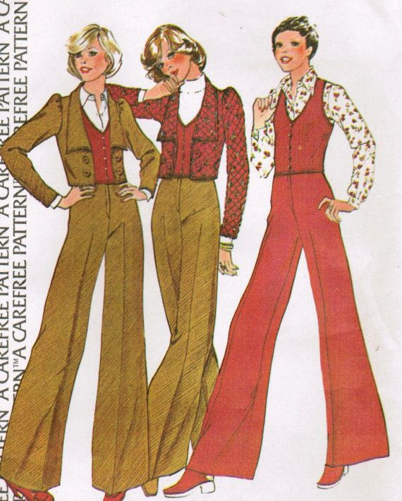 1970s McCall's Pattern. Gasp. Those wide legs--walked across the grass one day and a cricket crawled up my leg until it got stuck you know where.  Grabbed my behind and ... It was in the office with so many nice looking young men ...